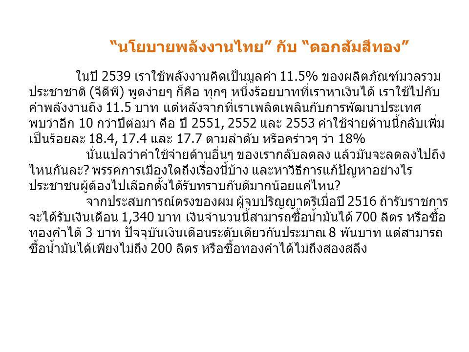 นโยบายพลังงานไทย กับ ดอกส้มสีทอง ในปี 2539 เราใช้พลังงานคิดเป็นมูลค่า 11.5% ของผลิตภัณฑ์มวลรวม ประชาชาติ (จีดีพี) พูดง่ายๆ ก็คือ ทุกๆ หนึ่งร้อยบาทที่เราหาเงินได้ เราใช้ไปกับ ค่าพลังงานถึง 11.5 บาท แต่หลังจากที่เราเพลิดเพลินกับการพัฒนาประเทศ พบว่าอีก 10 กว่าปีต่อมา คือ ปี 2551, 2552 และ 2553 ค่าใช้จ่ายด้านนี้กลับเพิ่ม เป็นร้อยละ 18.4, 17.4 และ 17.7 ตามลำดับ หรือคร่าวๆ ว่า 18% นั่นแปลว่าค่าใช้จ่ายด้านอื่นๆ ของเรากลับลดลง แล้วมันจะลดลงไปถึง ไหนกันละ.