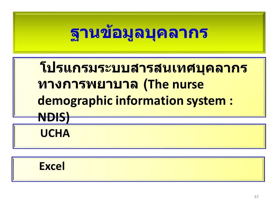 โปรแกรมระบบสารสนเทศบุคลากร ทางการพยาบาล (The nurse demographic information system : NDIS) ฐานข้อมูลบุคลากร 43 UCHA Excel