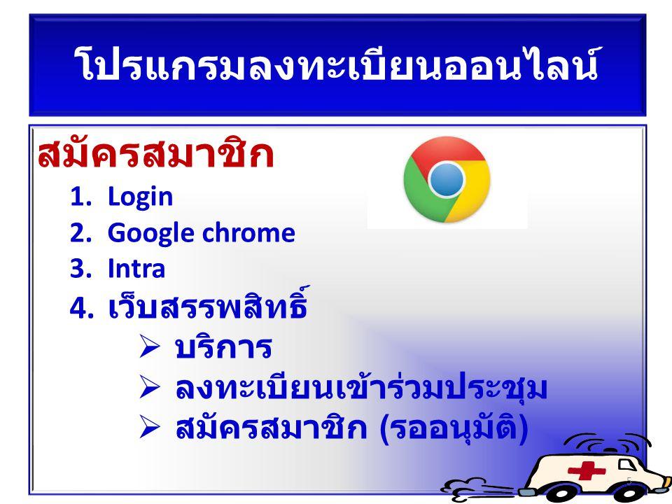 โปรแกรมลงทะเบียนออนไลน์ สมัครสมาชิก 1.Login 2.Google chrome 3.Intra 4. เว็บสรรพสิทธิ์  บริการ  ลงทะเบียนเข้าร่วมประชุม  สมัครสมาชิก (รออนุมัติ) 5