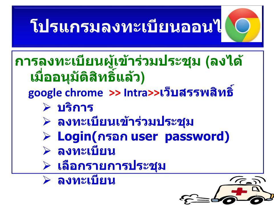 โปรแกรมลงทะเบียนออนไลน์ การลงทะเบียนผู้เข้าร่วมประชุม (ลงได้ เมื่ออนุมัติสิทธิ์แล้ว) google chrome >> Intra>> เว็บสรรพสิทธิ์  บริการ  ลงทะเบียนเข้าร