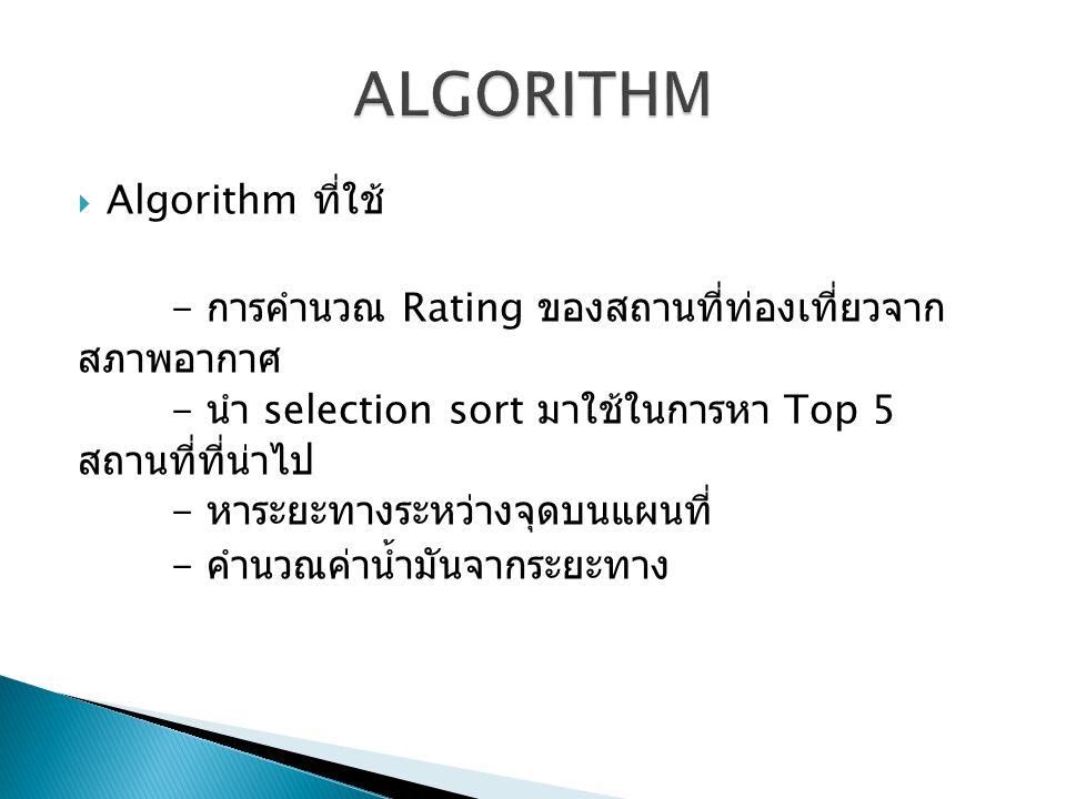  Algorithm ที่ใช้ - การคำนวณ Rating ของสถานที่ท่องเที่ยวจาก สภาพอากาศ - นำ selection sort มาใช้ในการหา Top 5 สถานที่ที่น่าไป - หาระยะทางระหว่างจุดบนแผนที่ - คำนวณค่าน้ำมันจากระยะทาง