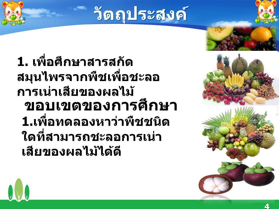 4 วัตถุประสงค์ 1. เพื่อศึกษาสารสกัด สมุนไพรจากพืชเพื่อชะลอ การเน่าเสียของผลไม้ ขอบเขตของการศึกษา 1. เพื่อทดลองหาว่าพืชชนิด ใดที่สามารถชะลอการเน่า เสีย