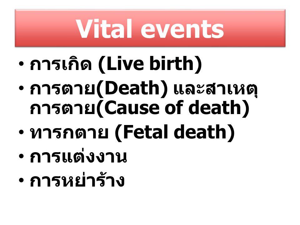 Vital events การเกิด (Live birth) การตาย (Death) และสาเหตุ การตาย (Cause of death) ทารกตาย (Fetal death) การแต่งงาน การหย่าร้าง