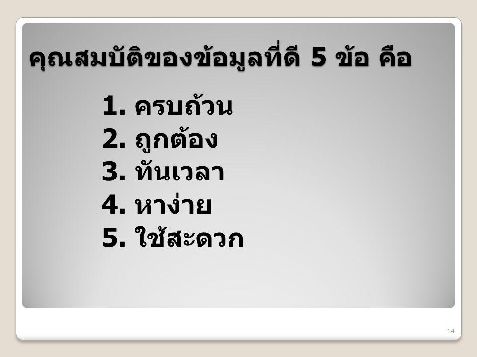 คุณสมบัติของข้อมูลที่ดี 5 ข้อ คือ 1. ครบถ้วน 2. ถูกต้อง 3. ทันเวลา 4. หาง่าย 5. ใช้สะดวก 14