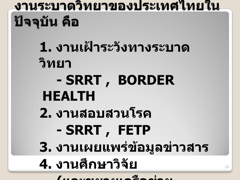 งานระบาดวิทยาของประเทศไทยใน ปัจจุบัน คือ 1. งานเฝ้าระวังทางระบาด วิทยา - SRRT, BORDER HEALTH 2. งานสอบสวนโรค - SRRT, FETP 3. งานเผยแพร่ข้อมูลข่าวสาร 4