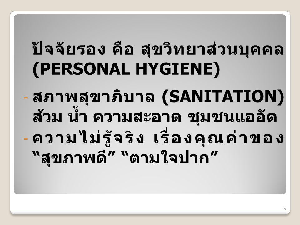 """ปัจจัยรอง คือ สุขวิทยาส่วนบุคคล (PERSONAL HYGIENE) - สภาพสุขาภิบาล (SANITATION) ส้วม น้ำ ความสะอาด ชุมชนแออัด - ความไม่รู้จริง เรื่องคุณค่าของ """"สุขภาพ"""