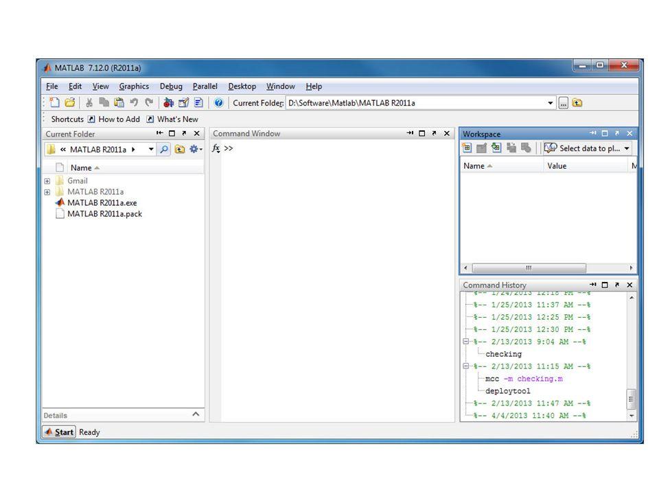 ลำดับการคำนวณ การคำนวณบน Command windows มี ลำดับการคำนวณเหมือนคณิตศาสตร์ มาก คือ โปรแกรมจะทำการคำนวณ เรียงตามลำดับก่อนหลัง คือ ทำ โอเปอเรเตอร์ในวงเล็บ เลขยกกำลัง คูณ หาร บวก ลบและดำเนินการเรียง ตามลำดับจากซ้ายไปขวา