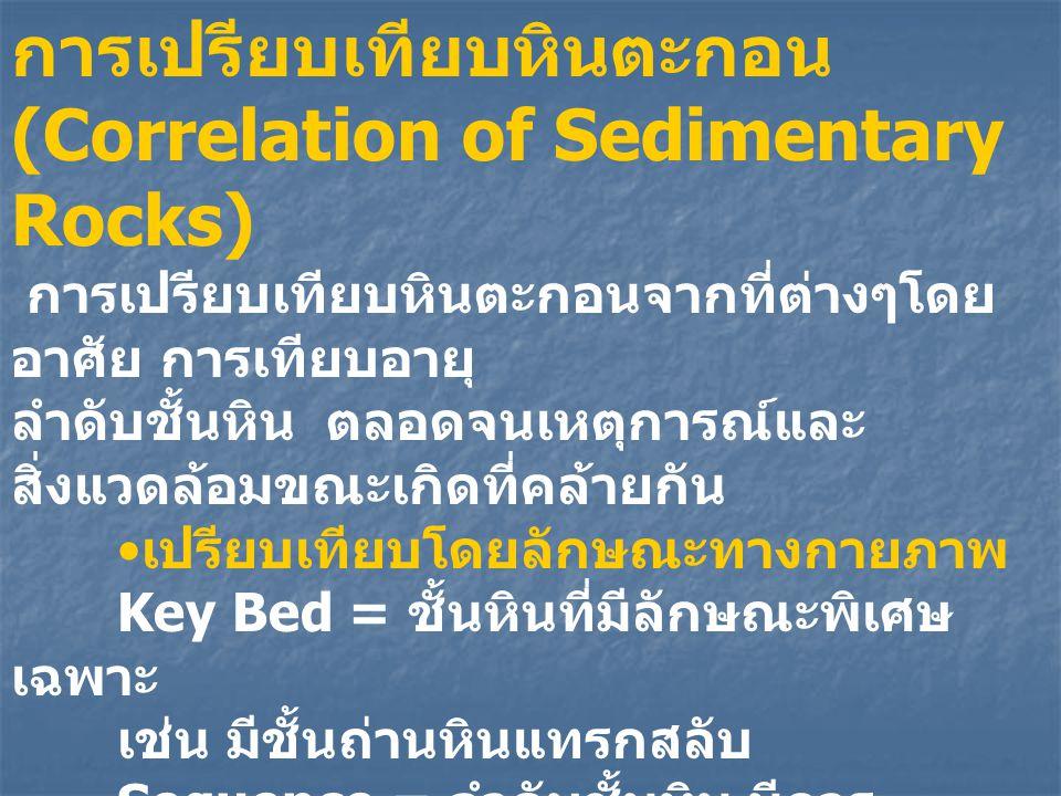 การเปรียบเทียบหินตะกอน (Correlation of Sedimentary Rocks) การเปรียบเทียบหินตะกอนจากที่ต่างๆโดย อาศัย การเทียบอายุ ลำดับชั้นหิน ตลอดจนเหตุการณ์และ สิ่ง