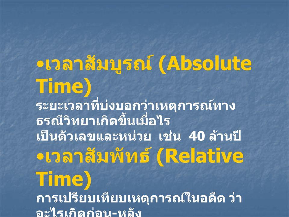 เวลาสัมบูรณ์ (Absolute Time) ระยะเวลาที่บ่งบอกว่าเหตุการณ์ทาง ธรณีวิทยาเกิดขึ้นเมื่อไร เป็นตัวเลขและหน่วย เช่น 40 ล้านปี เวลาสัมพัทธ์ (Relative Time)