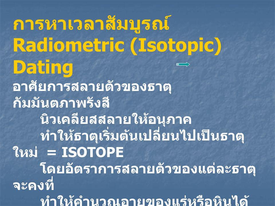 การหาเวลาสัมบูรณ์ Radiometric (Isotopic) Dating อาศัยการสลายตัวของธาตุ กัมมันตภาพรังสี นิวเคลียสสลายให้อนุภาค ทำให้ธาตุเริ่มต้นเปลี่ยนไปเป็นธาตุ ใหม่
