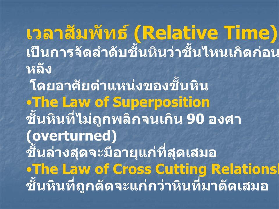 เวลาสัมพัทธ์ (Relative Time) เป็นการจัดลำดับชั้นหินว่าชั้นไหนเกิดก่อน - หลัง โดยอาศัยตำแหน่งของชั้นหิน The Law of Superposition ชั้นหินที่ไม่ถูกพลิกจน