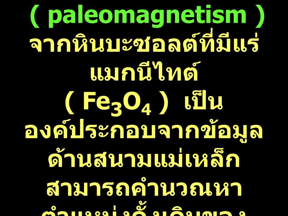 22 3 ภาวะแม่เหล็กโลก บรรพกาล ( paleomagnetism ) จากหินบะซอลต์ที่มีแร่ แมกนีไทต์ ( Fe 3 O 4 ) เป็น องค์ประกอบจากข้อมูล ด้านสนามแม่เหล็ก สามารถคำนวณหา ต