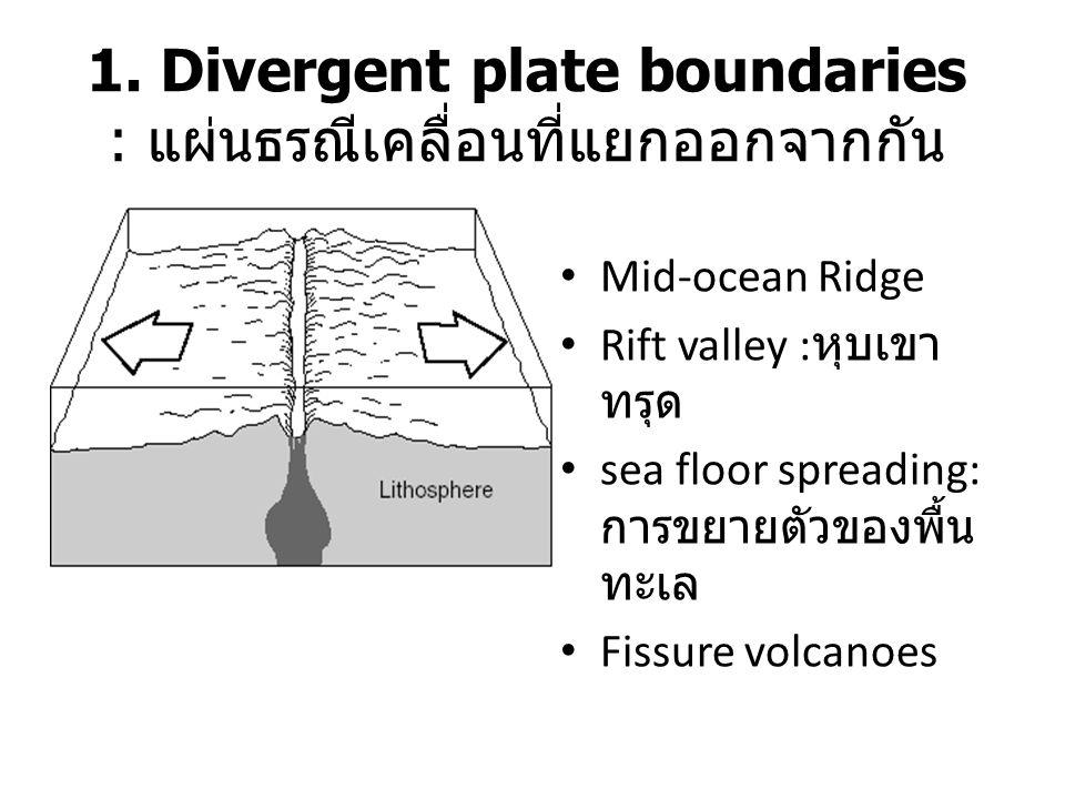 1. Divergent plate boundaries : แผ่นธรณีเคลื่อนที่แยกออกจากกัน Mid-ocean Ridge Rift valley : หุบเขา ทรุด sea floor spreading: การขยายตัวของพื้น ทะเล F