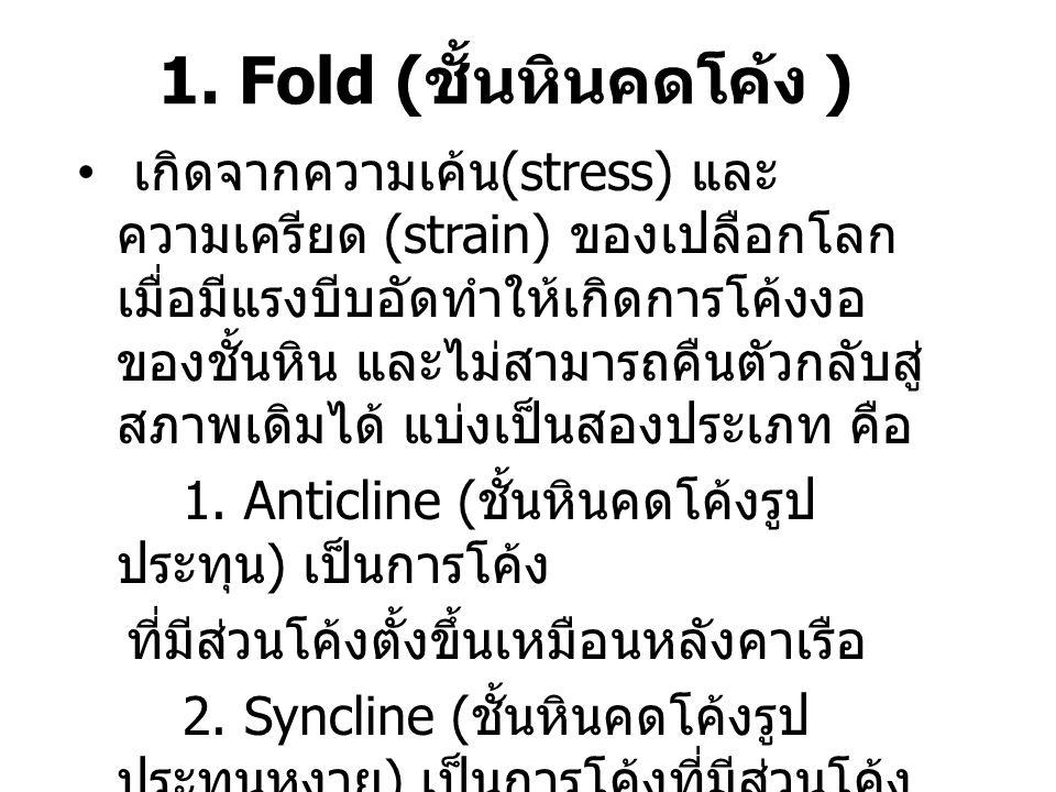 1. Fold ( ชั้นหินคดโค้ง ) เกิดจากความเค้น (stress) และ ความเครียด (strain) ของเปลือกโลก เมื่อมีแรงบีบอัดทำให้เกิดการโค้งงอ ของชั้นหิน และไม่สามารถคืนต