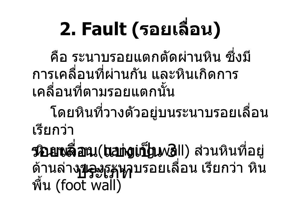 2. Fault ( รอยเลื่อน ) คือ ระนาบรอยแตกตัดผ่านหิน ซึ่งมี การเคลื่อนที่ผ่านกัน และหินเกิดการ เคลื่อนที่ตามรอยแตกนั้น โดยหินที่วางตัวอยู่บนระนาบรอยเลื่อน