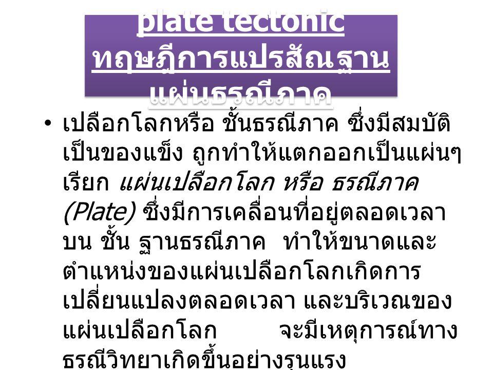 plate tectonic ทฤษฎีการแปรสัณฐาน แผ่นธรณีภาค เปลือกโลกหรือ ชั้นธรณีภาค ซึ่งมีสมบัติ เป็นของแข็ง ถูกทำให้แตกออกเป็นแผ่นๆ เรียก แผ่นเปลือกโลก หรือ ธรณีภาค (Plate) ซึ่งมีการเคลื่อนที่อยู่ตลอดเวลา บน ชั้น ฐานธรณีภาค ทำให้ขนาดและ ตำแหน่งของแผ่นเปลือกโลกเกิดการ เปลี่ยนแปลงตลอดเวลา และบริเวณของ แผ่นเปลือกโลก จะมีเหตุการณ์ทาง ธรณีวิทยาเกิดขึ้นอย่างรุนแรง