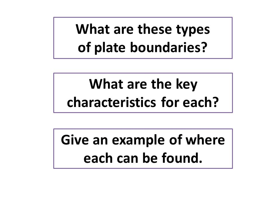 What are these types of plate boundaries? What are the key characteristics for each? Give an example of where each can be found.