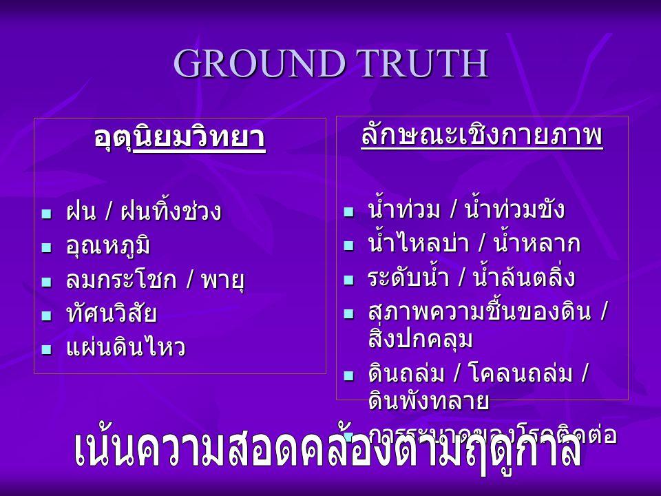 GROUND TRUTH อุตุนิยมวิทยา ฝน / ฝนทิ้งช่วง ฝน / ฝนทิ้งช่วง อุณหภูมิ อุณหภูมิ ลมกระโชก / พายุ ลมกระโชก / พายุ ทัศนวิสัย ทัศนวิสัย แผ่นดินไหว แผ่นดินไหว