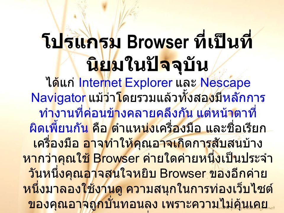 ได้แก่ Internet Explorer และ Nescape Navigator แม้ว่าโดยรวมแล้วทั้งสองมีหลักการ ทำงานที่ค่อนข้างคลายคลึงกัน แต่หน้าตาที่ ผิดเพี้ยนกัน คือ ตำแหน่งเครื่