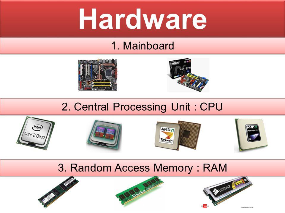 Hardware ( ต่อ ) 4. Hard disk 5. CD - Rom 6. Monitor