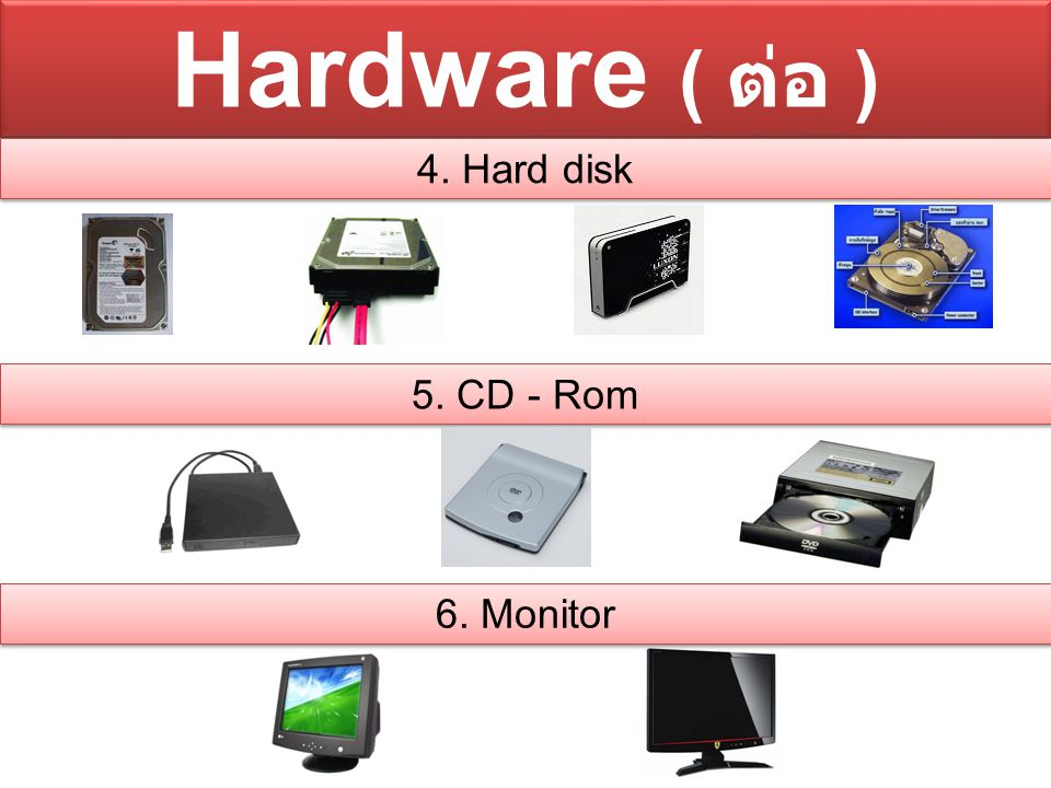 Hardware ( ต่อ ) 4. Hard disk 5. CD - Rom 6. Monitor