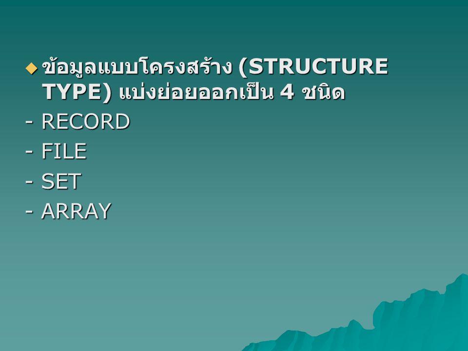  ข้อมูลแบบโครงสร้าง (STRUCTURE TYPE) แบ่งย่อยออกเป็น 4 ชนิด - RECORD - FILE - SET - ARRAY