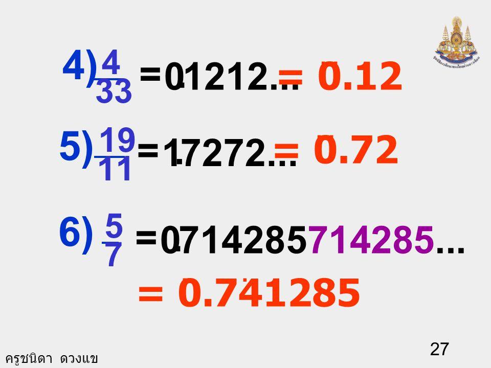 ครูชนิดา ดวงแข 26 เขียนเศษส่วนให้อยู่ใน รูปทศนิยม.. 020 = ( ศูนย์ซ้ำ ).. 75000 =. = 0.3. 33...0 = ( สามซ้ำ ) 5 1 1) 40 3 2) 3 1 3)