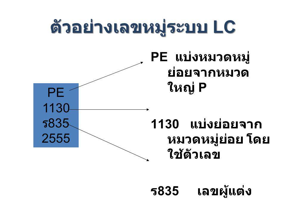 ตัวอย่างเลขหมู่ระบบ LC PE แบ่งหมวดหมู่ ย่อยจากหมวด ใหญ่ P 1130 แบ่งย่อยจาก หมวดหมู่ย่อย โดย ใช้ตัวเลข ร 835 เลขผู้แต่ง PE 1130 ร 835 2555