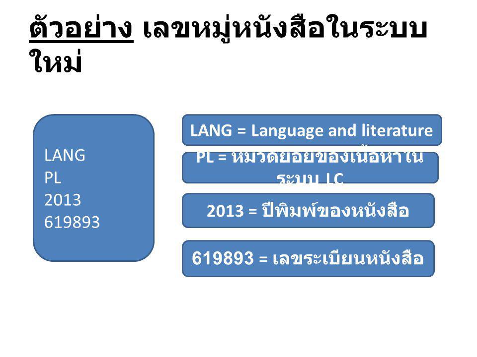 ตัวอย่าง เลขหมู่หนังสือในระบบ ใหม่ LANG PL 2013 619893 LANG = Language and literature PL = หมวดย่อยของเนื้อหาใน ระบบ LC 2013 = ปีพิมพ์ของหนังสือ 61989