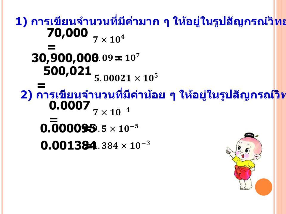 1) การเขียนจำนวนที่มีค่ามาก ๆ ให้อยู่ในรูปสัญกรณ์วิทยาศาสตร์ 70,000 = 30,900,000 = 2) การเขียนจำนวนที่มีค่าน้อย ๆ ให้อยู่ในรูปสัญกรณ์วิทยาศาสตร์ 0.000