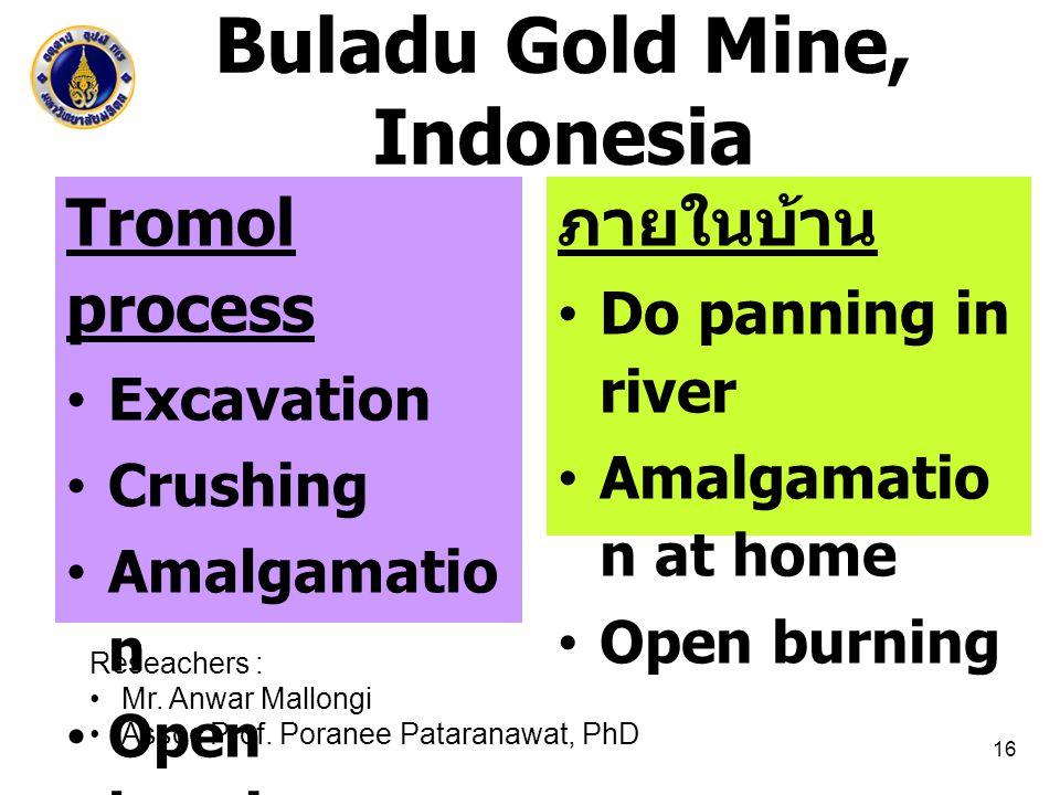 Buladu Gold Mine, Indonesia 16 Tromol process Excavation Crushing Amalgamatio n Open burning ภายในบ้าน Do panning in river Amalgamatio n at home Open