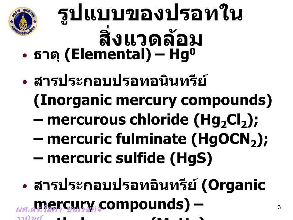 รูปแบบของปรอทใน สิ่งแวดล้อม ธาตุ (Elemental) – Hg 0 สารประกอบปรอทอนินทรีย์ (Inorganic mercury compounds) – mercurous chloride (Hg 2 Cl 2 ); – mercuric