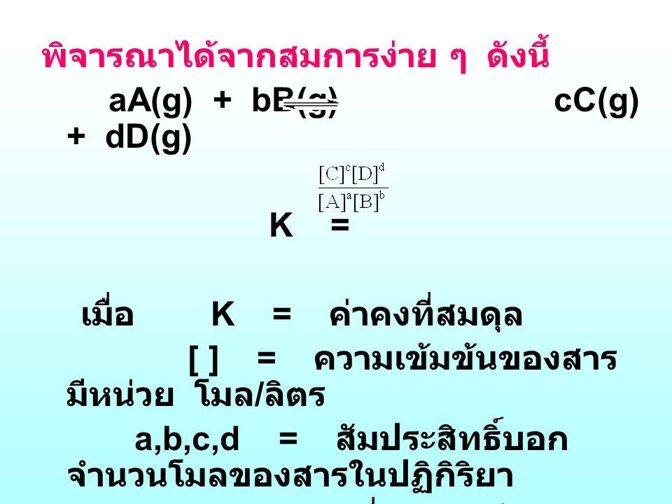 พิจารณาได้จากสมการง่าย ๆ ดังนี้ aA(g) + bB(g) cC(g) + dD(g) K = เมื่อ K = ค่าคงที่สมดุล [ ] = ความเข้มข้นของสาร มีหน่วย โมล / ลิตร a,b,c,d = สัมประสิท
