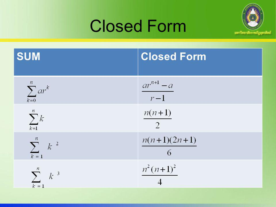 Closed Form SUMClosed Form