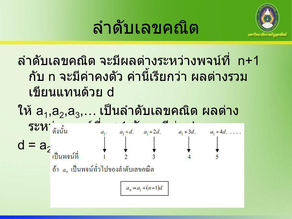 ตัวอย่าง จงหาพจน์ที่ 15 ของลำดับ -5, -1, 3, 7, 11, ….