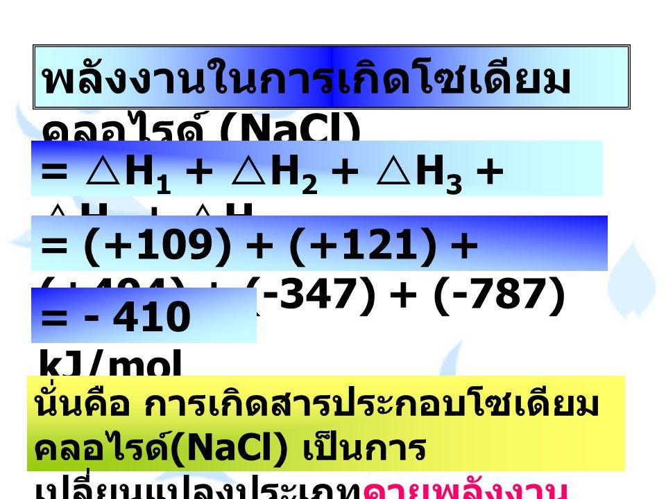 พลังงานในการเกิดโซเดียม คลอไรด์ (NaCl) =  H 1 +  H 2 +  H 3 +  H 4 +  H 5 = (+109) + (+121) + (+494) + (-347) + (-787) = - 410 kJ/mol นั่นคือ การ
