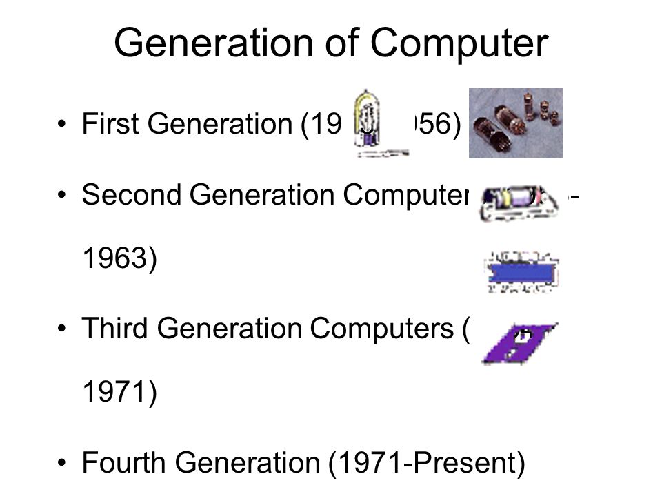 Generation of Computer First Generation (1945-1956) Second Generation Computers (1956- 1963) Third Generation Computers (1964- 1971) Fourth Generation (1971-Present) Fifth Generation (Present and Beyond)