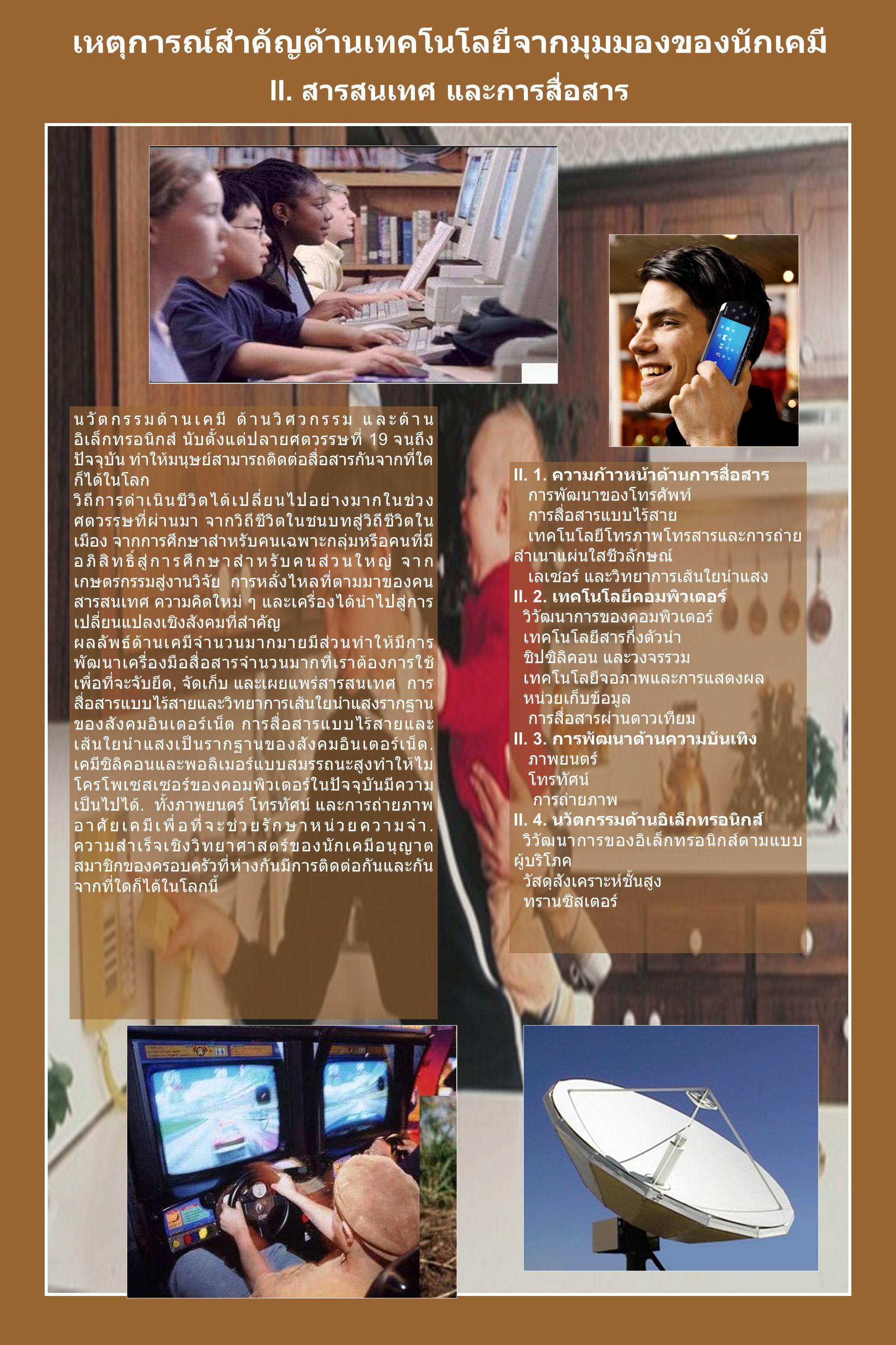 อเล็กซานเดอร์ เกรแฮม เบลล์ แผ่นโฆษณษาภาพยนตร์ เรื่องยาวเรื่องแรก The Jazz Singer, ด้วยเสียงร้องและ เสียงพูดเกิดขึ้นในเวลา เดียวกัน ฟิโล ที ฟาร์นเวิร์ธ และ หลอดรังสี แคโทด ENIAC ทรานซิสเตอร์ ตัวแรก วงจรรวมตัวแรก ชิปซิลิคอน เทลสตาร์ โกดัก - อินสตาเม ติก ไมโครโพเซสเซอร์ แบบ 4 บิต รุ่น 4004 ของบริษัท อินเทล การติดตั้ง เส้นใยนำแสง ใน เมืองชิคาโก ลำดับเวลา 2419 อเล็กซานเดอร์ เกรแฮม เบลล์ ประสบ ความสำเร็จในการใช้โทรศัพท์เป็นครั้งแรก 2469 พี่น้องตระกูลวอร์เนอร์ ทำภาพยนตร์เรื่องแรกที่มี เสียงและเพลงเกิดขึ้นในเวลาเดียวกัน 2469 การสนทนาแบบสองทางที่เกิดขึ้นเป็นครั้งแรก ถูกถ่ายทอดข้ามมหาสมุทรแอตแลนติก 2470 ฟิโล ที ฟาร์นเวิร์ธ กระจายภาพโทรทัศน์ครั้ง แรกโดยการใช้ หลอดภาพ CRT หรือหลอดรังสี แคโทด 2489 เครื่องคอมพิวเตอร์อิเล็กทรอนิกส์เครื่องแรกที่ ชื่อว่า ENIAC เริ่มปฏิบัติการ.
