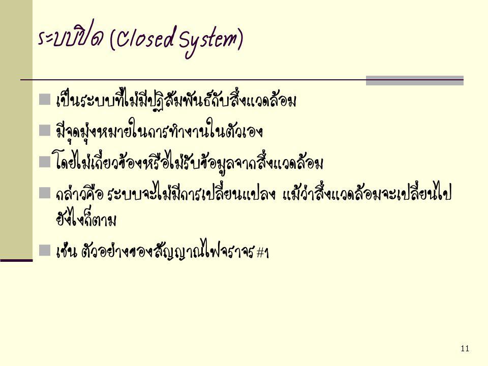 11 ระบบปิด (Closed System) เป็นระบบที่ไม่มีปฏิสัมพันธ์กับสิ่งแวดล้อม มีจุดมุ่งหมายในการทำงานในตัวเอง โดยไม่เกี่ยวข้องหรือไม่รับข้อมูลจากสิ่งแวดล้อม กล