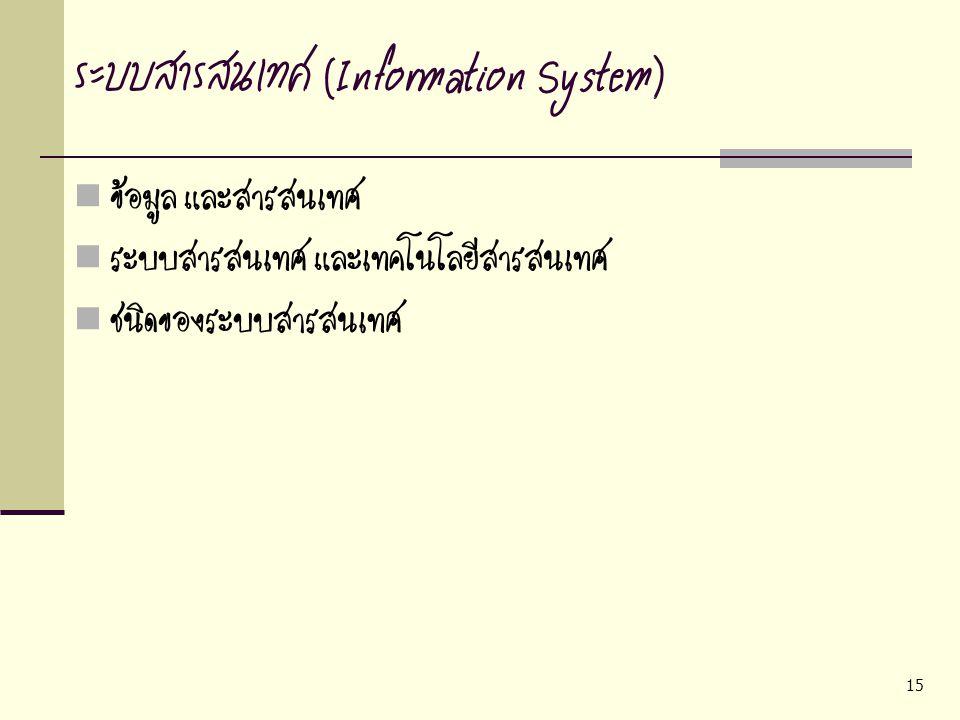15 ระบบสารสนเทศ (Information System) ข้อมูล และสารสนเทศ ระบบสารสนเทศ และเทคโนโลยีสารสนเทศ ชนิดของระบบสารสนเทศ