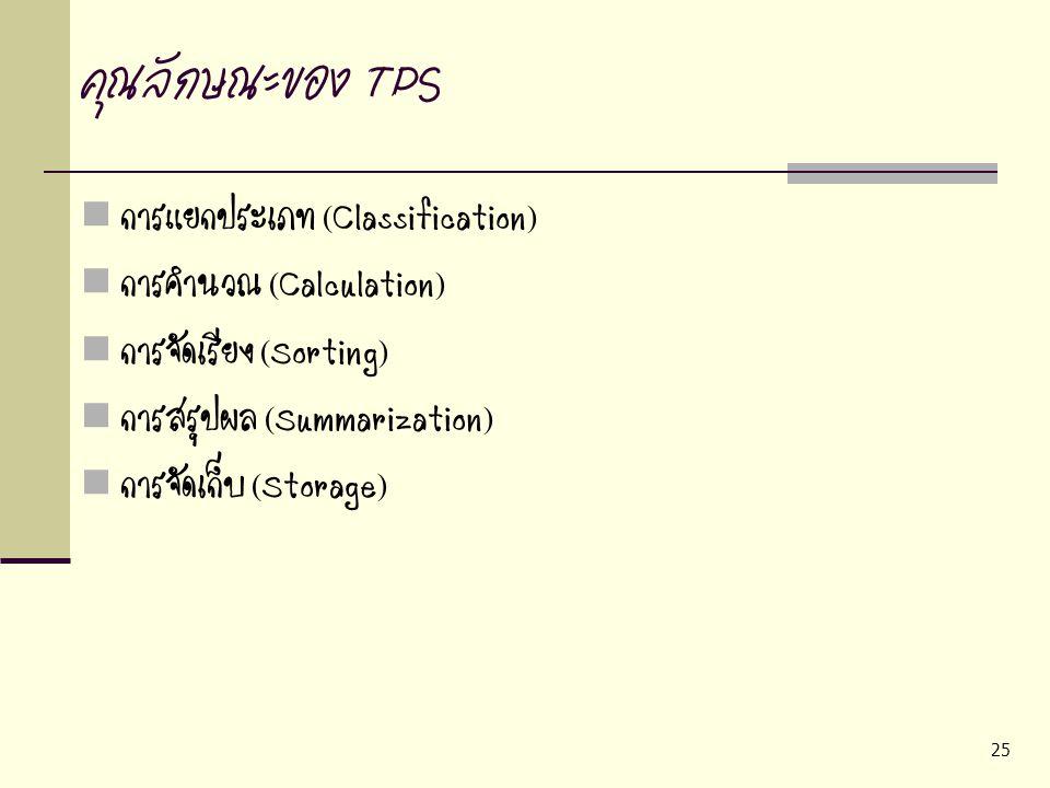 25 คุณลักษณะของ TPS การแยกประเภท (Classification) การคำนวณ (Calculation) การจัดเรียง (Sorting) การสรุปผล (Summarization) การจัดเก็บ (Storage)