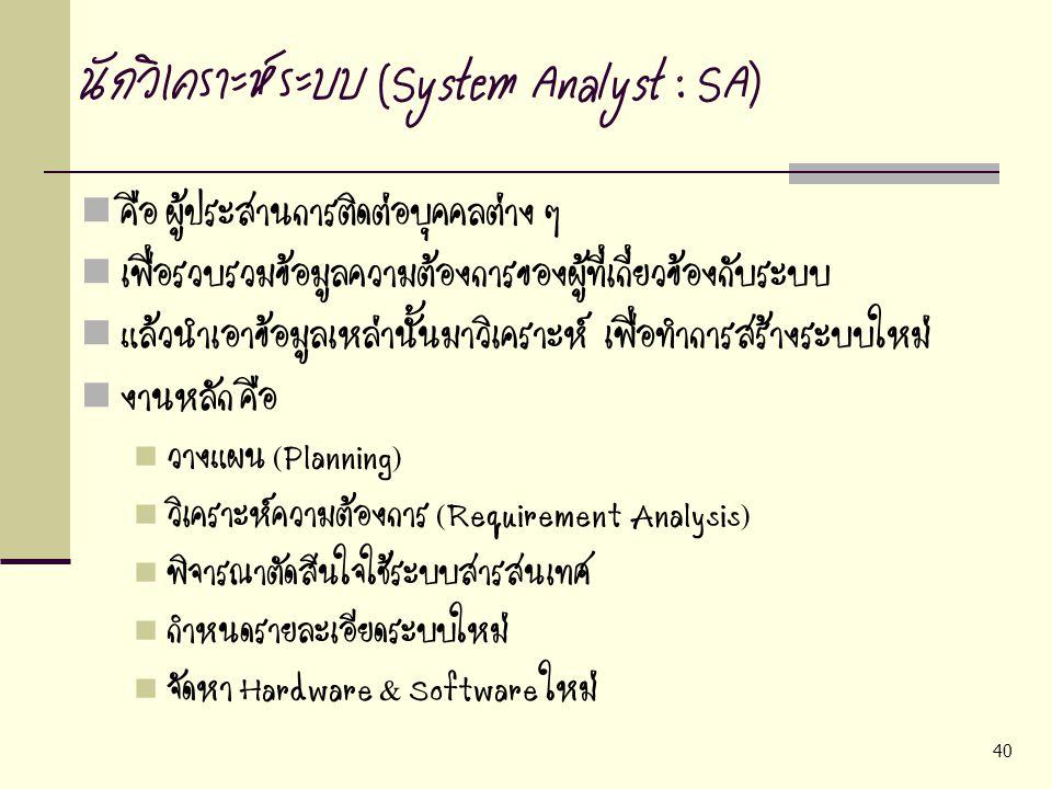 40 นักวิเคราะห์ระบบ (System Analyst : SA) คือ ผู้ประสานการติดต่อบุคคลต่าง ๆ เพื่อรวบรวมข้อมูลความต้องการของผู้ที่เกี่ยวข้องกับระบบ แล้วนำเอาข้อมูลเหล่