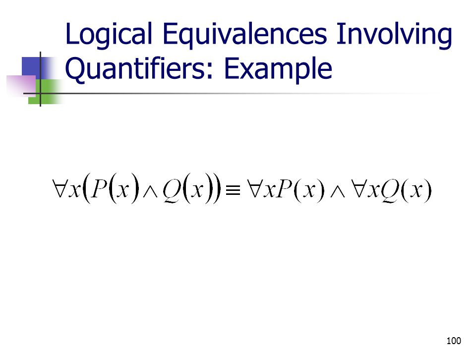 100 Logical Equivalences Involving Quantifiers: Example
