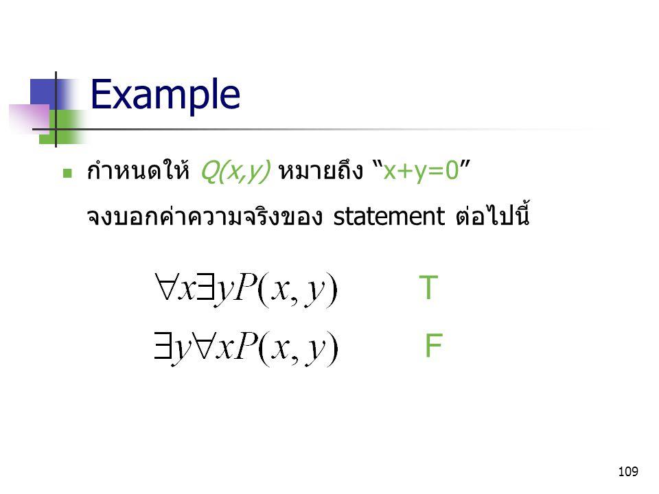 "109 Example กำหนดให้ Q(x,y) หมายถึง ""x+y=0"" จงบอกค่าความจริงของ statement ต่อไปนี้ T F"