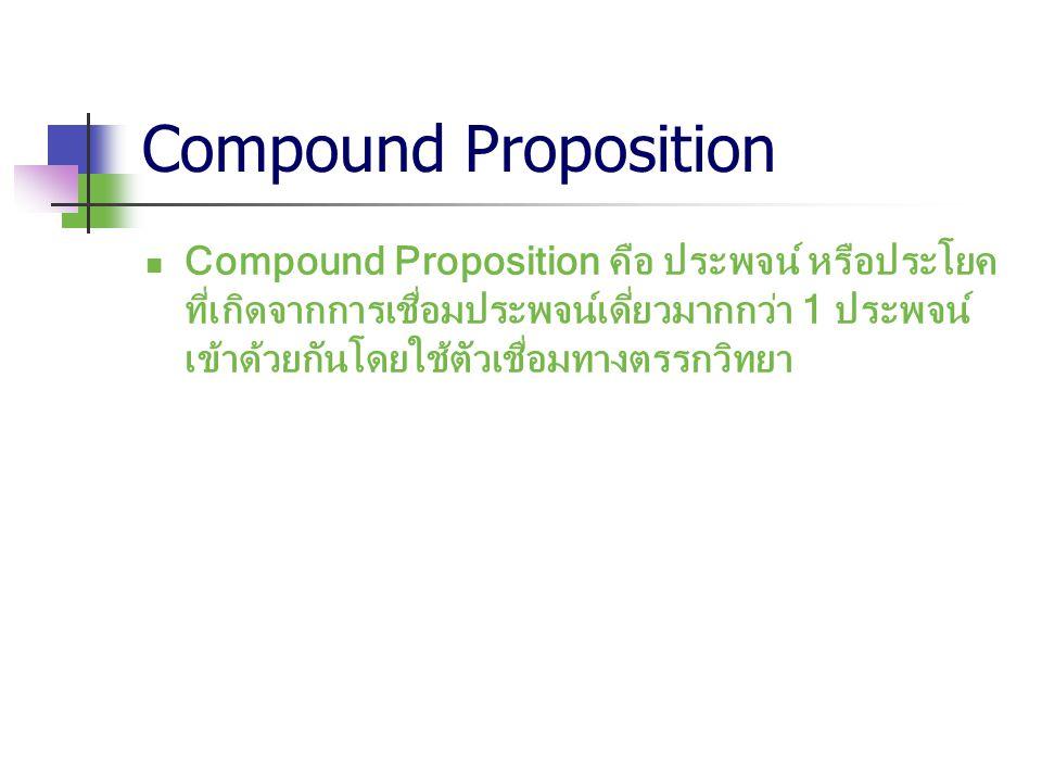 Compound Proposition Compound Proposition คือ ประพจน์ หรือประโยค ที่เกิดจากการเชื่อมประพจน์เดี่ยวมากกว่า 1 ประพจน์ เข้าด้วยกันโดยใช้ตัวเชื่อมทางตรรกวิ