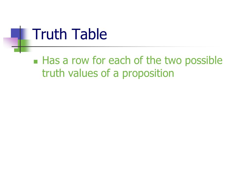 Truth Table Has a row for each of the two possible truth values of a proposition