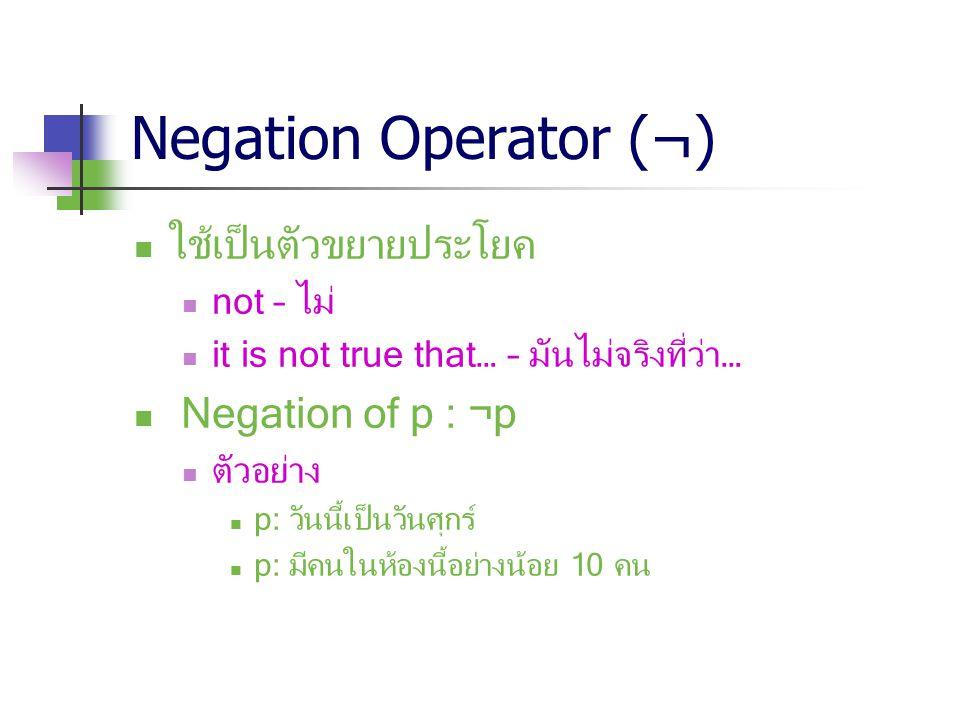 Negation Operator (¬) ใช้เป็นตัวขยายประโยค not – ไม่ it is not true that… – มันไม่จริงที่ว่า… Negation of p : ¬p ตัวอย่าง p: วันนี้เป็นวันศุกร์ p: มีค