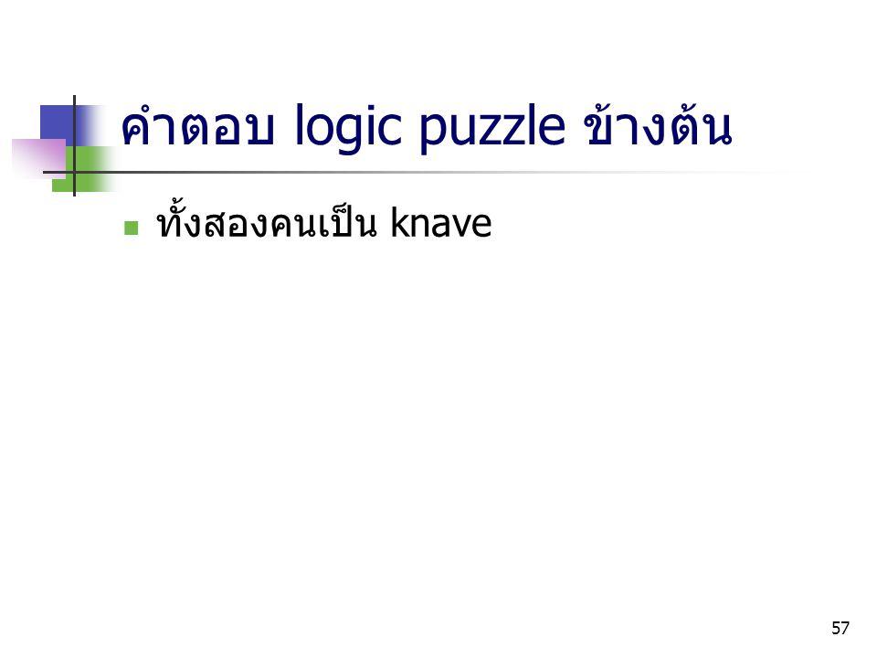 57 คำตอบ logic puzzle ข้างต้น ทั้งสองคนเป็น knave
