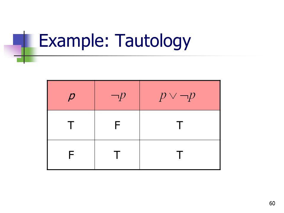 60 Example: Tautology p TFT FTT