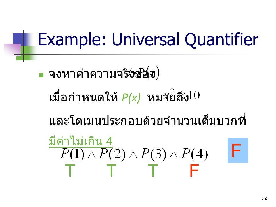 92 Example: Universal Quantifier จงหาค่าความจริงของ เมื่อกำหนดให้ P(x) หมายถึง และโดเมนประกอบด้วยจำนวนเต็มบวกที่ มีค่าไม่เกิน 4 TTTF F
